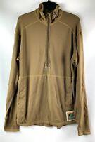 USMC Polartec FROG Grid Fleece 1/2 Zip Pullover Medium Regular Coyote Brown