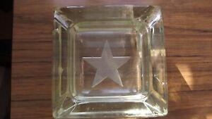 Newcastle Breweries Solid Glass Ashtray 1kg Weight c1960's Bottom Corner Chips