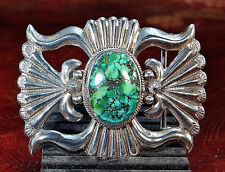 """""""M M"""" MARY MORGAN STERLING SILVER TURQUOISE BUCKLE FOR 1 ¼"""" BELT NATIVE AMERICAN"""