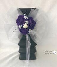 Purple Wedding bouquets Flowers Ivory Rose, Bride, buttonholes,flower girl wand