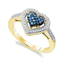 Blue Diamond Ring 10K Yellow Gold Blue & White Diamond Heart Cluster Ring .25ct