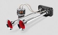 12V Druckluft Hupe Horn Fanfare mit Kompressor für LKW Chrom Melodie Klang 115dB