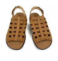 Sesto Meucci Brown Tan Camel  Leather Slingback Sandals Size 8.5N Narrow