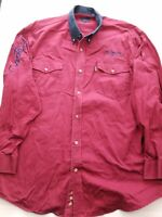 Roper Men's XL Long Sleeve Button-Down Red Western Shirt Y07