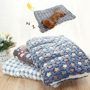 US Pet Dog Mat Paw Print Cat Puppy Fleece Mattress Cushion Bed Blanket Warm Pad