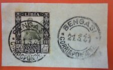 "Italy   Colonies 1931 Libya  50 cents "" Pittorica"" Series used on paper fragment"