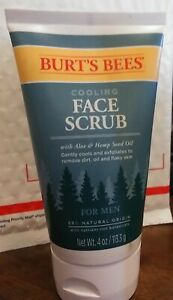 Burts Bees Cooling Face Scrub for Men with Aloe and Hemp 4 oz NEW SHIPS FREE