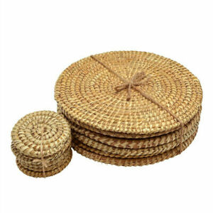 6X Natural Straw Placemats Water Weave Rattan Dining Table Round Straw Mat Home