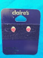 One Pair Of Claire's Sterling Silver Strawberry Pierced Earrings New