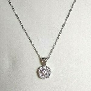 """2ct Diamond Simulant Cluster Pendant, 18"""" 9ct White Gold Chain Top Quality"""
