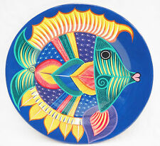 "Mexican Pottery Large Decorative Plate Wall Hanging 16"" Fish Bright Colors Blue"