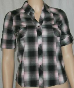 New short tab sleeve top button down blouse collared plaid shirt pink Small