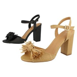 Ladies Black / Camel Spot On Block Heel Party / Occasion Sandal Shoes F1R0842