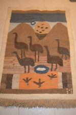 Birds Protecting Egg Lebowa South Africa hand woven tapestry folk tribal art vtg