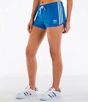 MED  adidas Originals Women's  3 STRIPES SLIM  SHORTS  UK14-US:10  BLUE  LAST1