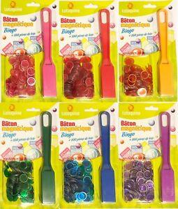 Loto Bâton Magnétique Bingo + 100 pions de Loto 6 Couleur aux choix Qualité