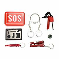 Portable 6 Piece Outdoor Emergency Survival Gear Kit SOS Survival Tool Box Pack