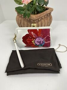 Coach Framed Wristlet Suede & Leather Poppy Flower White Red Kisslock B16