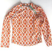 Cabana Life Rash Guard Kids Girls Orange Print Long Sleeve Sz 10