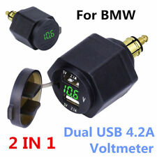 Motorcycle Dual USB Charger Green LED Voltmeter Powerlet For BMW