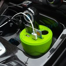 Green Style Auto USB Dual Power Charge Holder Cup Adapter 2 Socket Cigarette 12V