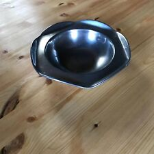 """7-5"""" N.S.W. Antique Pewter Bowl Polished Turned Edging Round Hollow Center"""