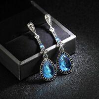 Earrings Art Deco Drop Long Fine Blue Retro DD12
