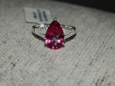 MYSTIC PINK COATED TOPAZ & NATURAL WHITE CAMBODIAN ZIRCON RING-SIZE T-5.250 CTS