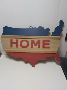 Wall Decor/ Red White &blue/home In Shape Of USA