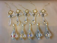 Chandelier 10 Clear Glass Beaded Christmas Ornaments Decoration Golden Metal