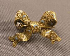 Tiny Antique Victorian Edwardian Enameled 14K Gold & Diamond Bowknot Brooch