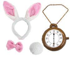 White + PINK Rabbit Headband Ears Tail Bow Tie CLOCK Fancy Dress Set Wonderland