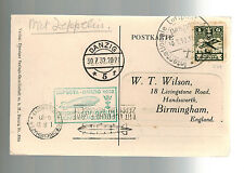 1932 Germany Danzig Flight Graf Zeppelin Postcard Cover to England LZ 127