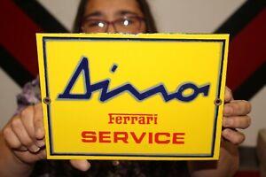 Dino Ferrari Service Racing Sports Car Pop Gas Oil Porcelain Metal Sign