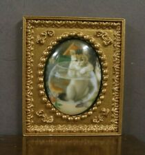 "FRAMED  FIRED  PORCELAIN  PICTURE  "" Cat in Fish Bowl "" ~Dollhouse~ 1:12 scale"