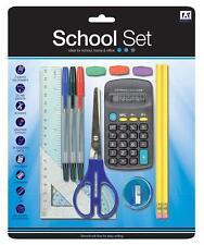 Set Cancelleria BACK TO SCHOOL Goniometro Penne Righello HB matite calcolatrice