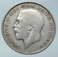 1923 Great Britain United Kingdom UK King GEORGE V Silver Half Crown Coin i85911