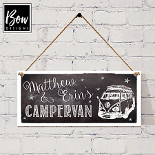 VW CAMPER SIGN - Personalised camper van hanging sign - HAND MADE -  205