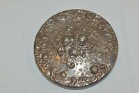 """Vintage Gorham Silverplate Round ROSE Repousse Purse Compact Mirror 3""""  EP YC 35"""