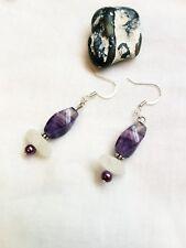 sea glass drop earrings Natural fluorite bead and white