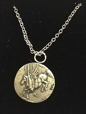 """Corinth Didrachm Coin WC82 English Pewter On a 20"""" Silver Plated Chain Necklace"""