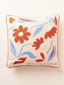 """Anthropologie Bloom Your Own Way 18"""" Square Embroidered Pillow - New with Tag"""