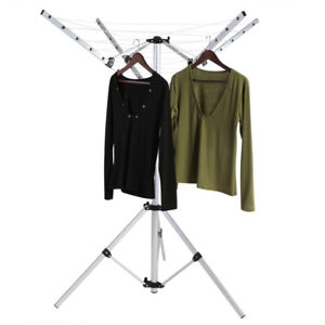 Portable 4 Arm Aluminium Rotary Camping Clothes Airer Washing Line Drying Rack