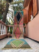 "Boujad Moroccan Handmade Vintage Runner 2'3""x11'5""Geometric Colorful Rug"