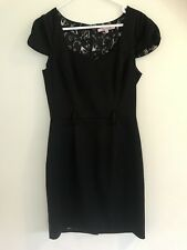 💜 REVIEW women's Black Shift Pencil Body on Fitted Dress Work Formal Sz 10 S