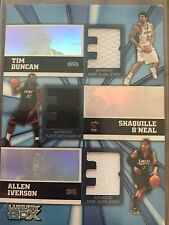 028/250 Tim Duncan, Shaquille O'Neal, and Allen Iverson basketball jersey card