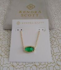 Authentic Kendra Scott Elisa 309 Gold Necklace Jade Green Illusion Pendant