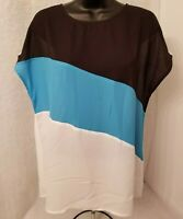 Womens Blue White Black Striped Semi Sheer Shirt Top Blouse Size L