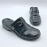 Clarks 74105 Women Black Leather Slip On Clog Mule Shoe Size 6M Pre Owned