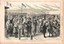 Club de Patins à Roulettes Patinage de Boulogne-sur-Mer GRAVURE OLD PRINT 1875